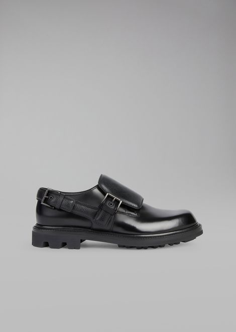 Aged leather monkstrap with caviar leather inserts