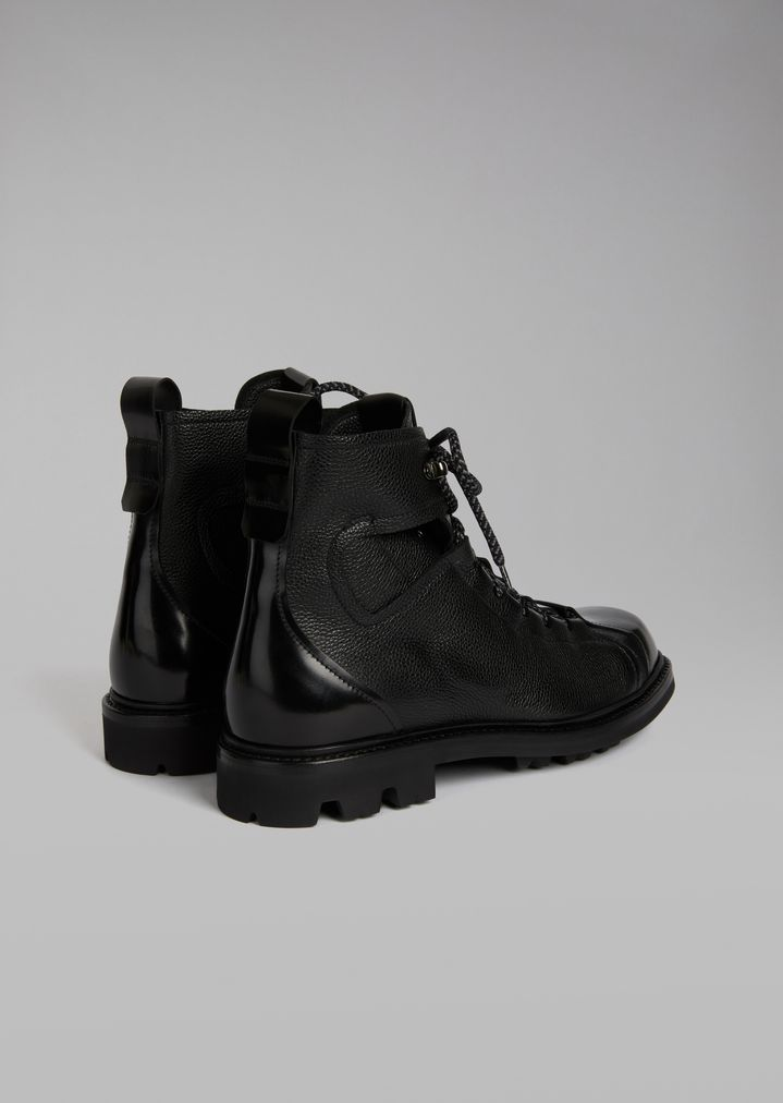 GIORGIO ARMANI Grained leather boots with smooth leather toe Ankle Boots Man d