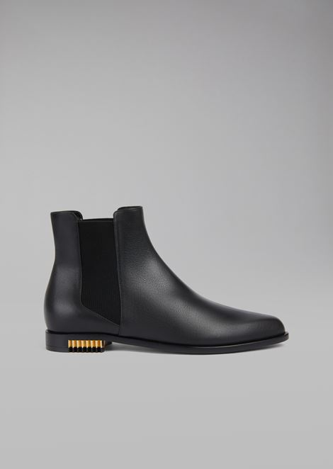 Calfskin Beatle boots with pleated metal insert