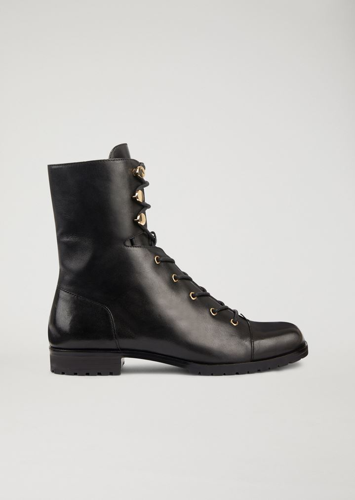 7fa9fb186 Leather combat boots with golden metal details | Woman | Emporio Armani