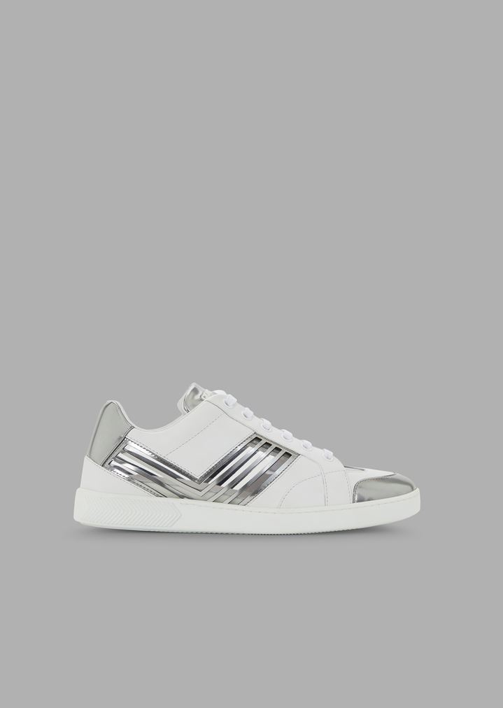 f6383fbd42 Leather sneakers with Plexiglas and liquid metal details