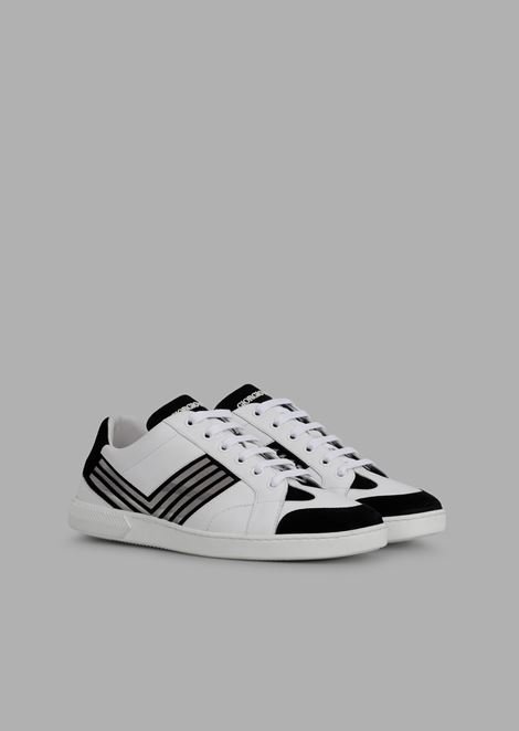 Leather sneakers with Plexiglas and velvet contrast details