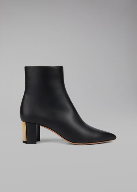 Calfskin leather ankle boots with pleated heel