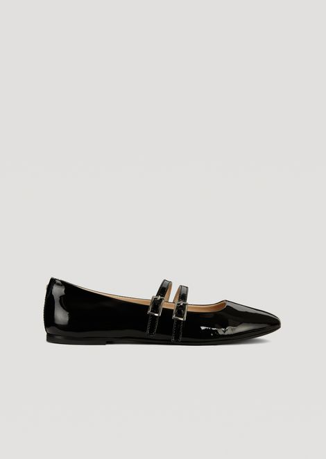 Ballet flats in patent leather with two straps