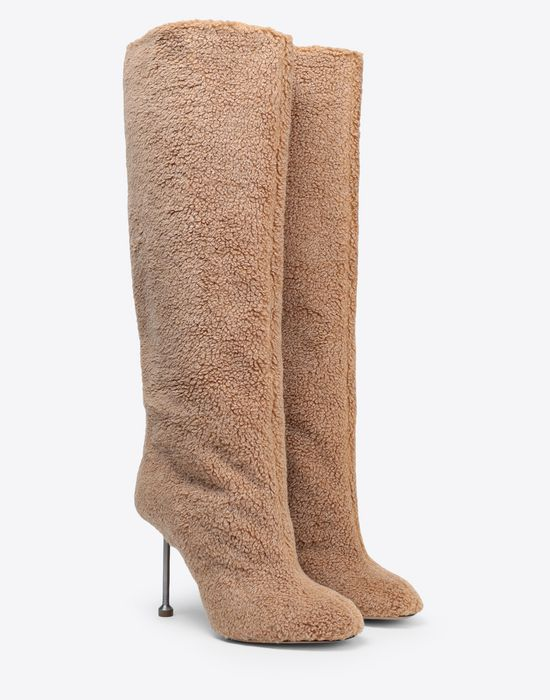MAISON MARGIELA Fake fur stiletto knee boots Boots [*** pickupInStoreShipping_info ***] r