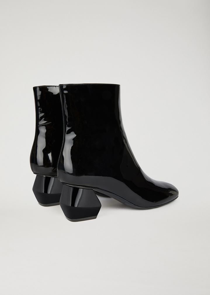 7c5bd83c05 Patent leather ankle boot with hexagonal heel