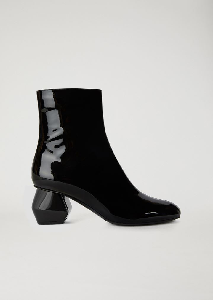 9c508d8fd1e92 Patent leather ankle boot with hexagonal heel | Woman | Emporio Armani