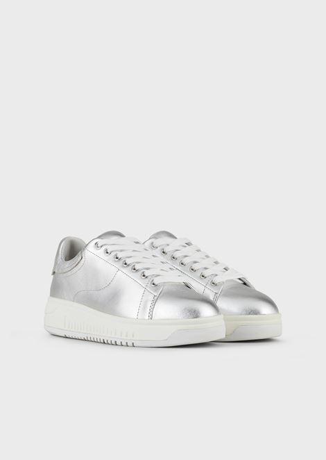 Sneakers in metallic-effect nappa