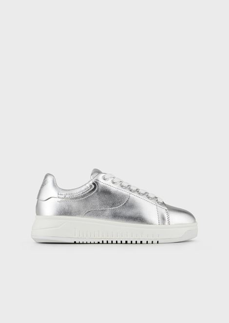 Sneakers in metallic-effect nappa