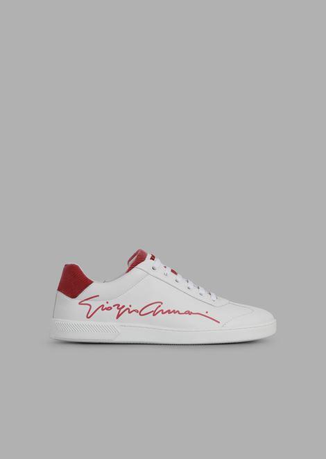 Sneakers aus Leder mit Giorgio Armani-Signatur und Details aus Chevron-Samt