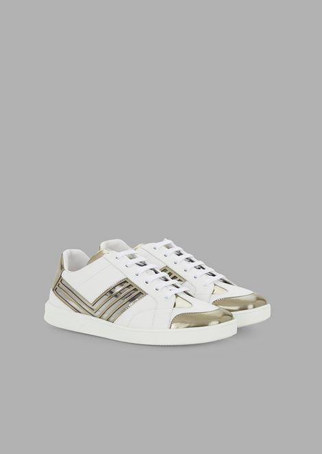 Leather sneakers with Plexiglas and liquid metal details