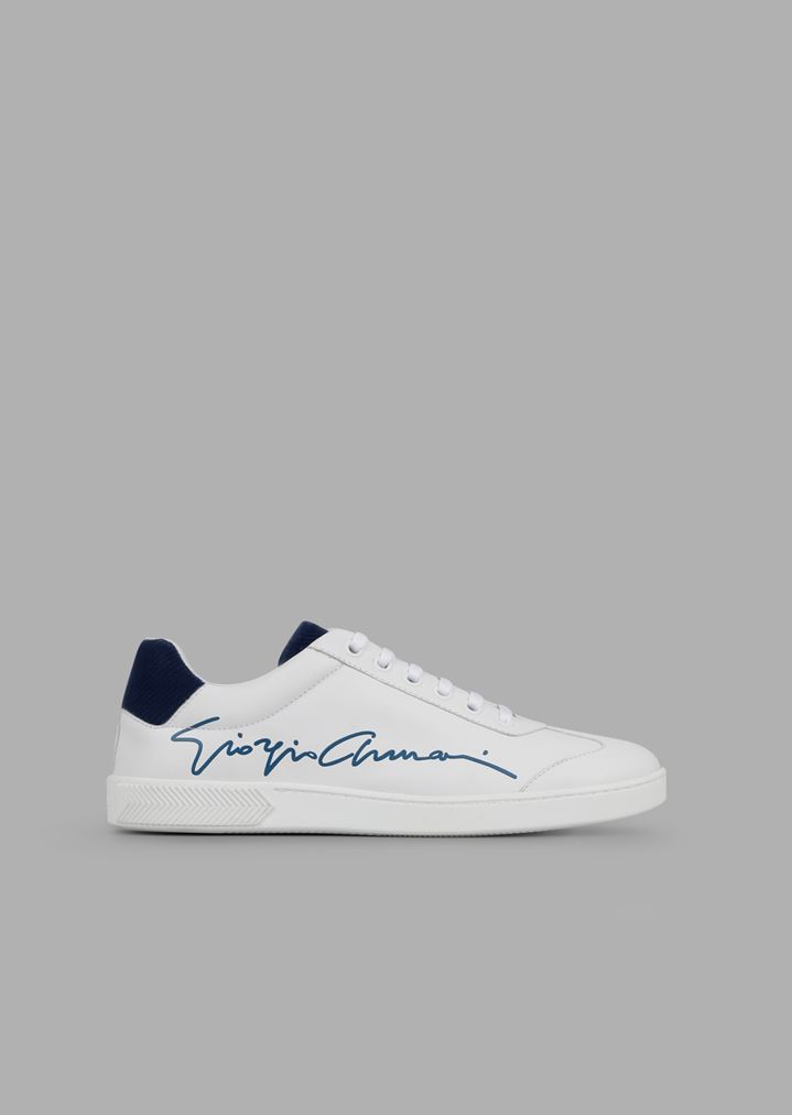 0f8884ff17f6 Leather sneakers with Giorgio Armani signature and chevron velvet details