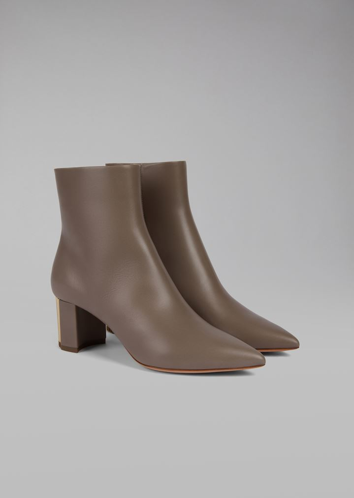 0ea3e9c1ed Calfskin leather ankle boots with pleated heel