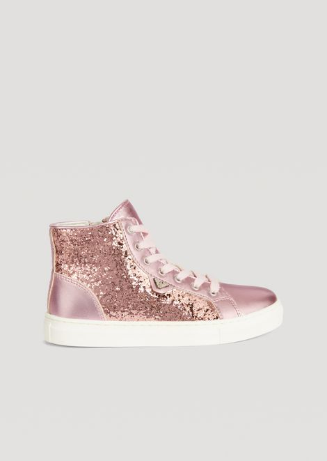 Satin and glitter sneakers