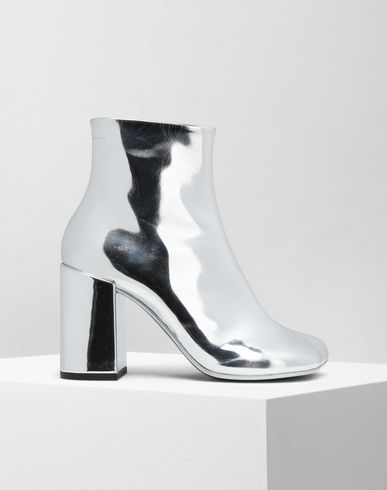 MM6 MAISON MARGIELA Ankle boots Woman Silver coated leather boots f
