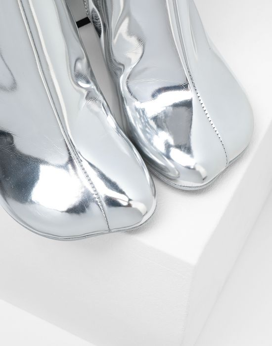 MM6 MAISON MARGIELA Silver coated leather boots Ankle boots [*** pickupInStoreShipping_info ***] a