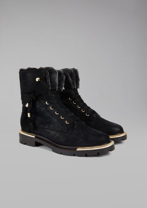 Waxed shearling combat boots with pleated metal details