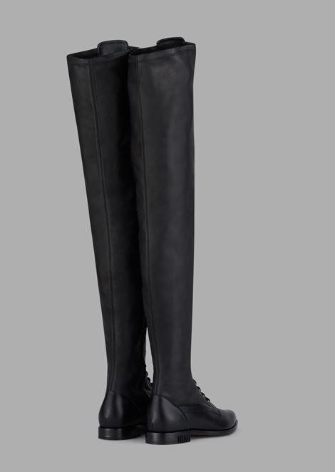 Thigh-high boots in Agadir calfskin with plissé heel