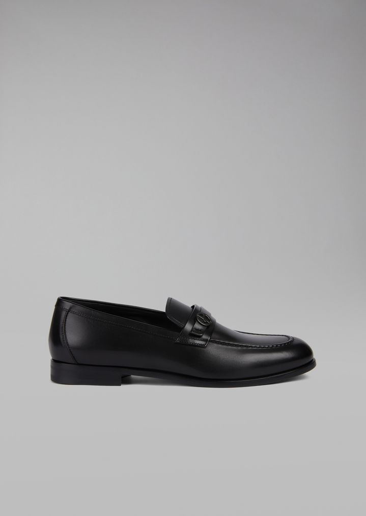 bd264a96e8 Brushed leather loafers featuring saddle strap with metal logo detail