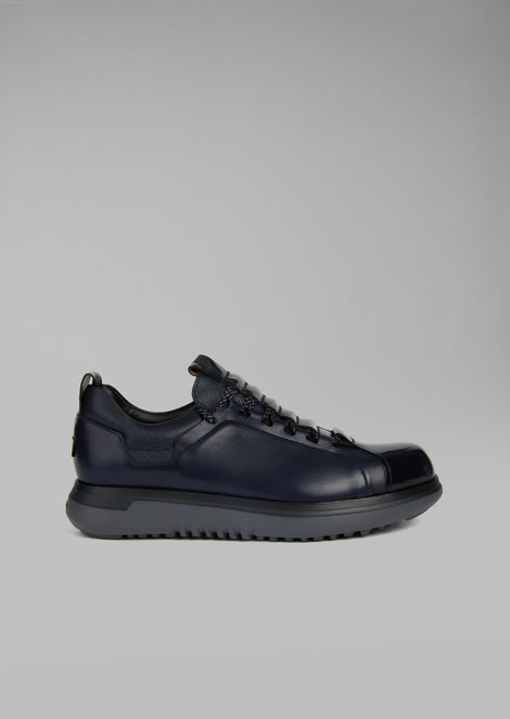 Brushed leather sneakers with contrasting laces