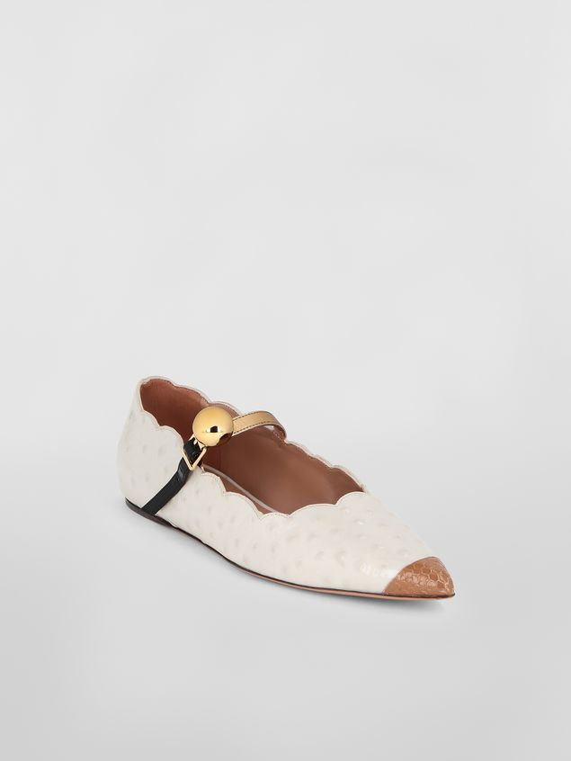 Marni Ballet flat in ostrich-print leather Woman - 2