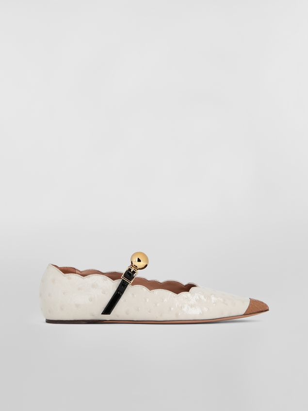 Marni Ballet flat in ostrich-print leather Woman - 1