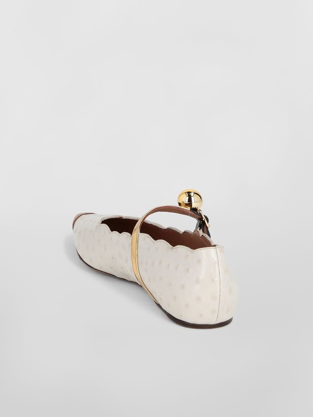 Marni Ballet flat in ostrich-print leather Woman - 3