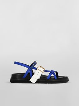 Marni Fussbett in blue and white fray-stop double satin  Woman