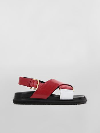 Marni Fussbett in goatskin leather red and white Woman f