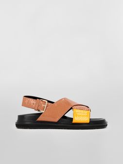 Marni Fussbett in brown and yellow python-print calfskin  Woman