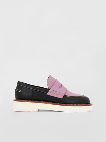 Marni Loafer in black and lilac calfskin  Woman