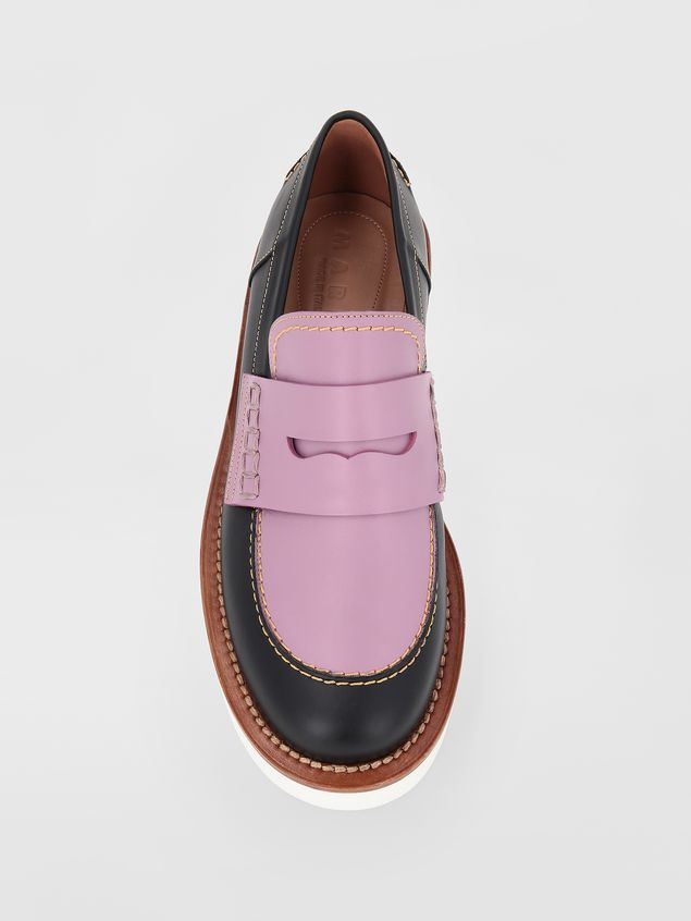 Marni Loafer in black and lilac calfskin  Woman - 4