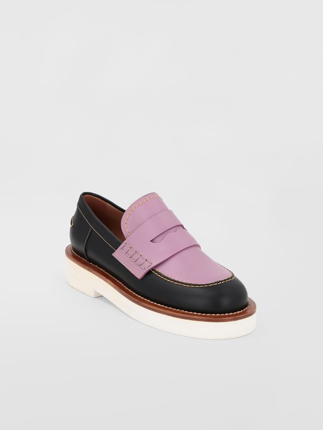 Marni Loafer in black and lilac calfskin  Woman - 2