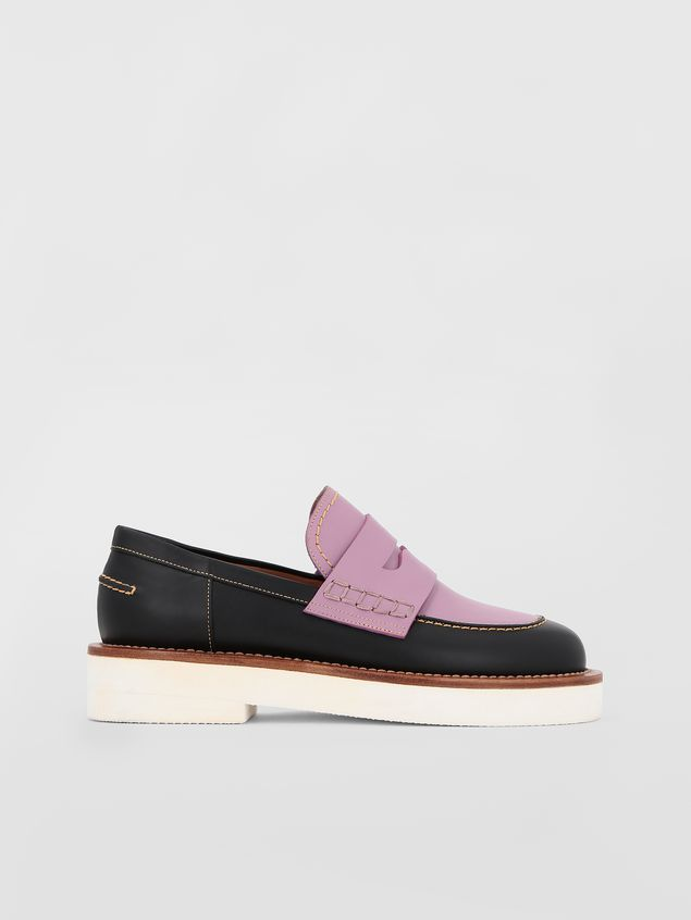 Marni Loafer in black and lilac calfskin  Woman - 1