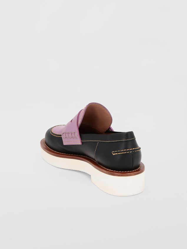 Marni Loafer in black and lilac calfskin  Woman - 3