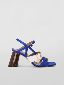 Marni Sandal in  blue and white fray-stop double satin Woman
