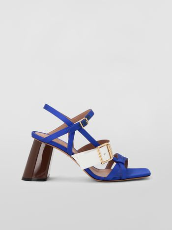Marni Sandal in fray-stop double satin blue and white Woman