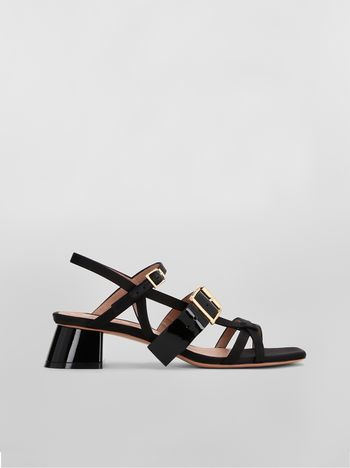 Marni Sandal in fray-stop double satin black Woman