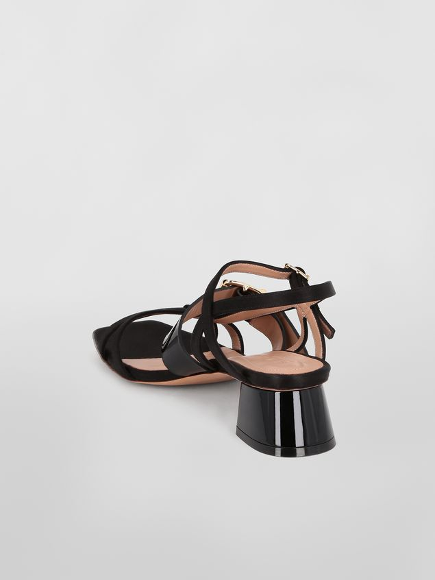 Marni Sandal in black fray-stop double satin Woman