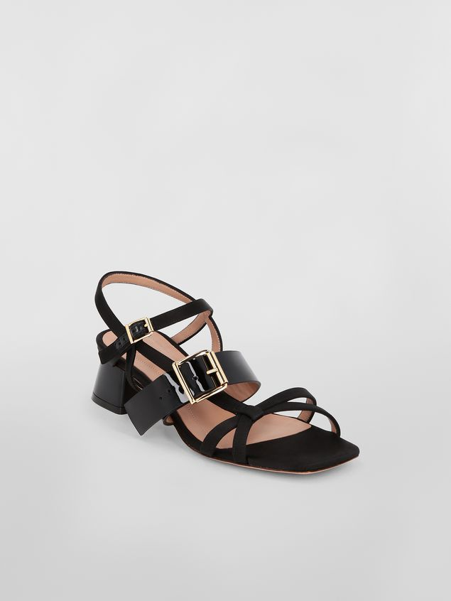 Marni Sandal in black fray-stop double satin Woman - 2
