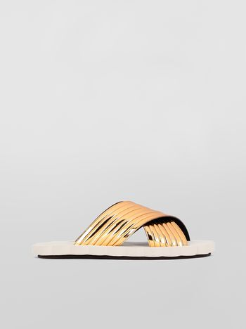 Marni Criss-cross sandal in laminated calfskin Woman