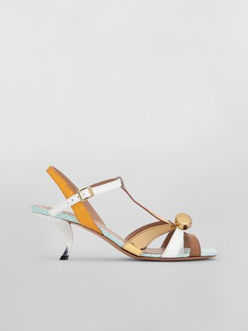 Marni T-strap sandal in python-print calfskin  Woman