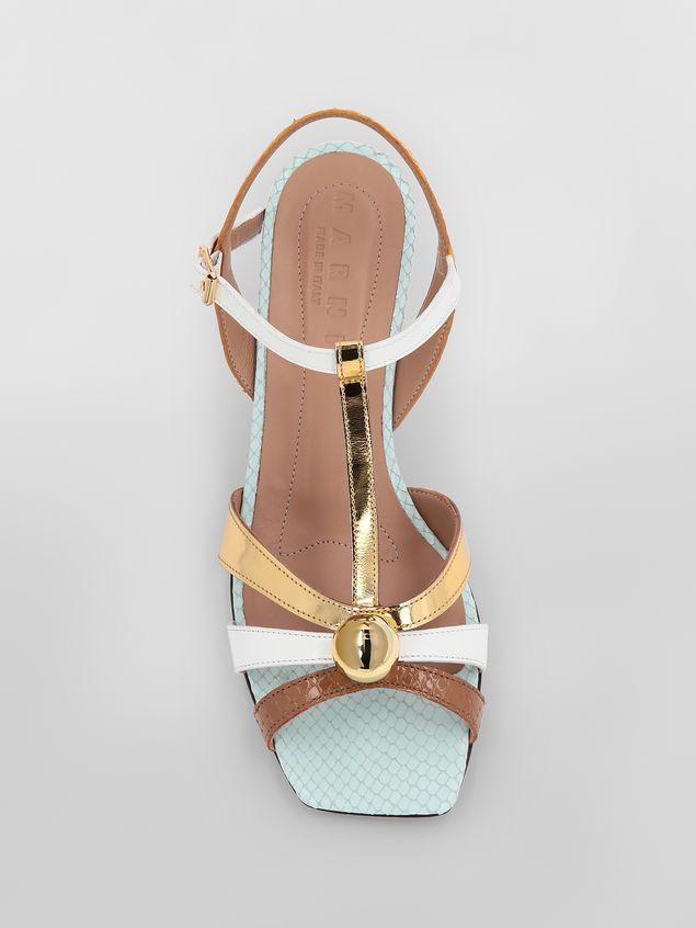 Marni T-strap sandal in python-print calfskin  Woman - 4