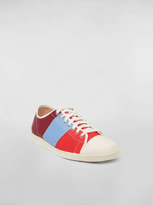 Marni Sneaker in techno jersey burgundy pale blue and red Man - 2