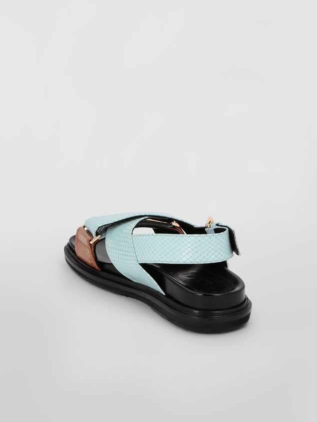 Marni Fussbett in light blue and brown python-print calfskin  Woman