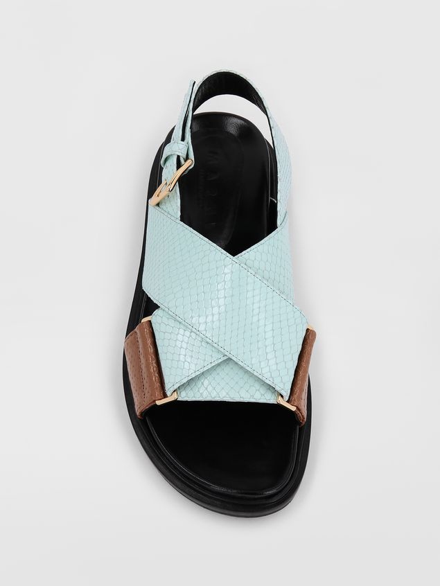 Marni Fussbett in light blue and brown python-print calfskin  Woman - 4