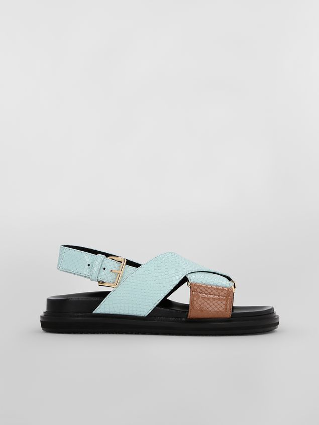 Marni Fussbett in light blue and brown python-print calfskin  Woman - 1