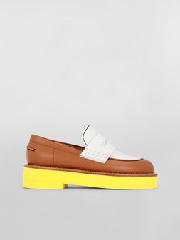 Marni Loafer in brown and white calfskin  Woman