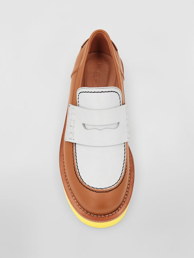 Marni Loafer in brown and white calfskin  Woman - 4