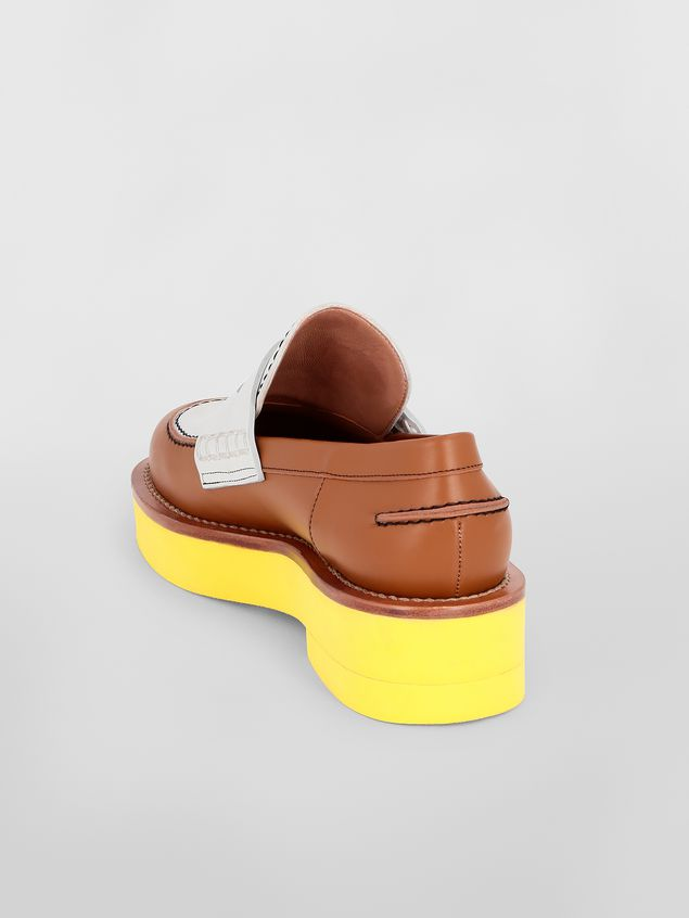 Marni Loafer in brown and white calfskin  Woman - 3